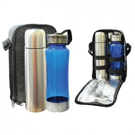 Travelling Thermo Flask & Reusable Water Bottle Set