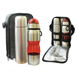Travelling Thermo Flask & Sports PC Bottle Set