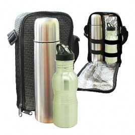 Travelling Thermo Flask & Stainless Steel Small Rib Bottle Set