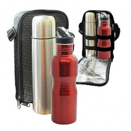 Travelling Thermo Flask & Stainless Steel Big Rib Bottle Set