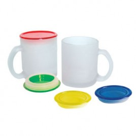 Glass Coffee Cup with Colour Lid