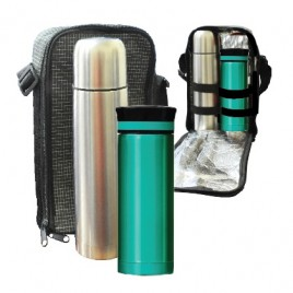 Travelling Thermo Flask & Stainless Steel Raya Mug Set