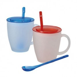 Frosted Glass Mug with Spoon