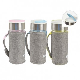 Glass Water Mug with felt Pouch