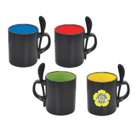 Black Colour Mug with Spoon