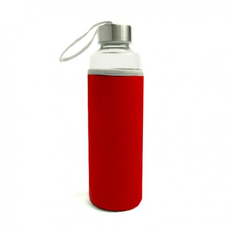 Travel Glass Bottle-Red