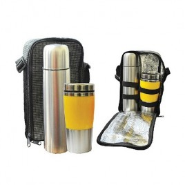Travelling Thermo Flask and Semi Metal Tall Mug